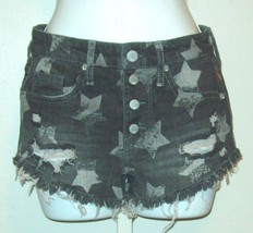 Mossimo Womens Jr Size 0 25 Black Gray High Rise Destroyed Shorts NWOT - $8.85