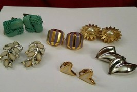 6prs VINTAGE CLIP ON EARRINGS LOT - $11.65