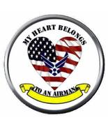USAF My Heart Belongs Airman Air Force US Military 18MM-20MM Snap Jewelr... - $5.95