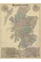 Scotland Map by G.W. Bacon - Fine vintage Repro - Insets of Glasgow & Edinburgh - $26.72+
