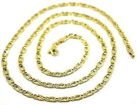 9K GOLD CHAIN TYGER EYE FLAT LINKS 3mm THICKNESS, 50cm, 20 INCHES, NECKLACE image 2