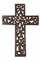 """The StoreKing Wooden Wall Hanging French Cross 12"""" with Celtic Hand Carv... - $18.84"""