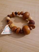NWT Paula Sibrack Marian Wood Stretch Bracelet Handmade - $12.00