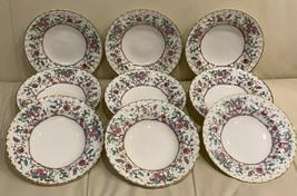 Royal Worcester Kashmir Pattern Rimmed Soup Bowls Set of 9 - $173.25