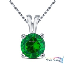 Green Sapphire White Gold Plated 925 Silver Women's Solitaire Pendant W/... - £29.36 GBP