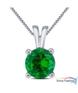 Green Sapphire White Gold Plated 925 Silver Women's Solitaire Pendant W/... - £29.95 GBP