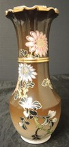 1920s Japanese Satsuma Flower Vase * Colorful Summer Flowers & Butterflies - $37.99