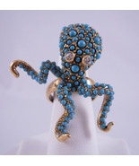 Kenneth Jay Lane Gold Turquois Dots Octopus Ring - $120.29