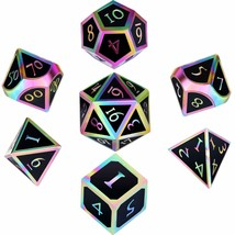 Hestya 7 Pieces Metal Dices Set DND Game Polyhedral Solid Metal D&D Dice... - $28.22