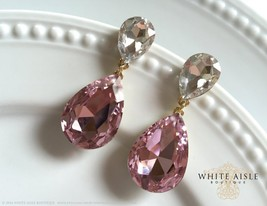 Pink Crystal Wedding Earrings, Bridal Earrings, Statement Earrings, Dang... - $36.00