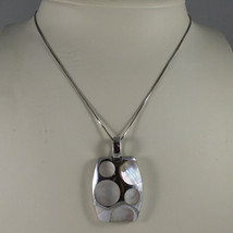 .925 SILVER RHODIUM NECKLACE WITH RECTANGULAR PENDANT WITH MOTHER OF PEARL DISC image 1