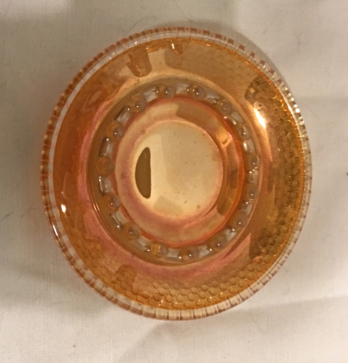 Vintage Marigold Orange CARNIVAL GLASS Ashtray // Ring Dish // Candle Dish