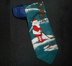 Hallmark Christmas Santa Claus Playing Golf W Reindeers Men's Dress Tie Necktie - $12.20
