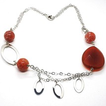 Necklace Silver 925, Carnelian Red Drop, Agate Maculata, Ovals Hanging image 1