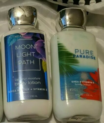 Primary image for Bath & Body Works Shea Body Lotions Moonlight Path And Pure Paradise Lot/2 8oz