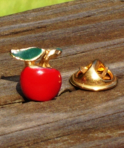 Vintage Apple Lapel Pin, Red and Green Enamel, Teachers Gift - $3.00