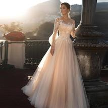Deluxe A-line Wedding Dress Light Pink Wedding Gowns Elegant Bride Dress With Lo