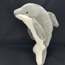 "Dolphin Gray White Plush Stuffed Mammal Animal Jumping Out Of Water 14"" ... - $14.84"