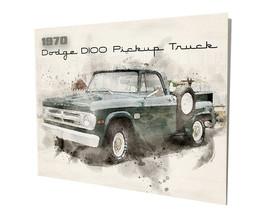 1970 Dodge D100 Pickup Truck Water Color Design 16x20 Aluminum Wall Art - $59.35
