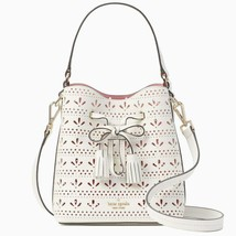 Kate Spade Hayes Street Small Drawstring Top Handle Bucket Bag $349 White / Pink - $127.71