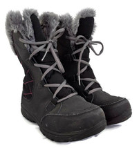 Columbia womens grey lace up winter boots faux fur lined size 5 - $49.49