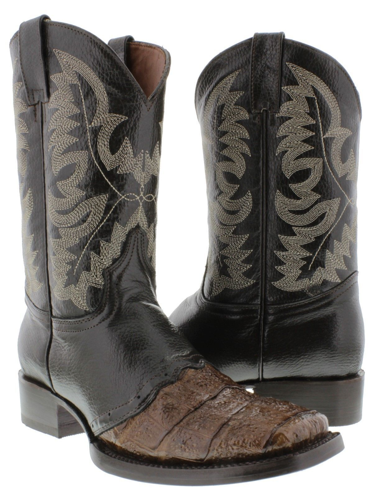 Mens Brown Real Crocodile Square Toe Cowboy Leather Boots Western Rodeo