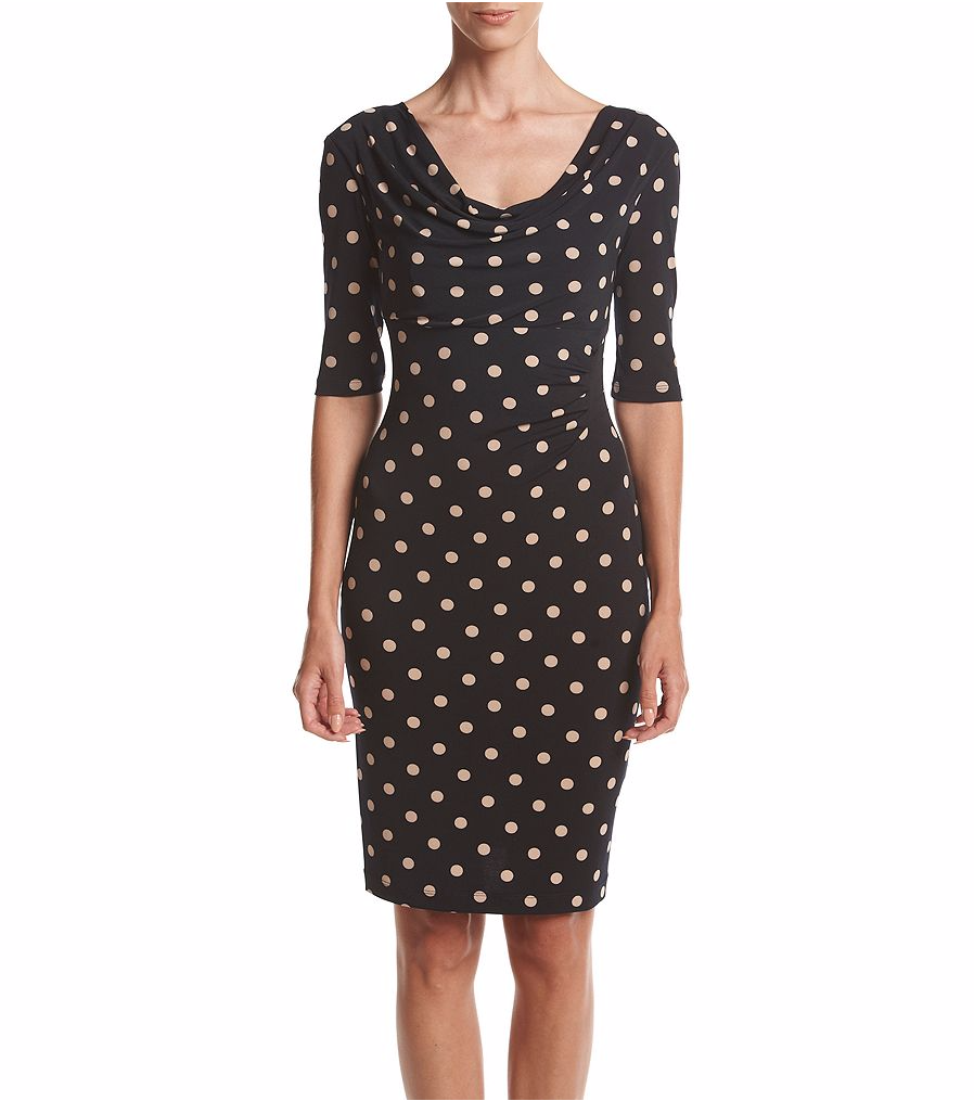 NWT CONNECTED NAVY BLUE POLKA DOTS CAREER SHEATH DRESS SIZE 14 $98
