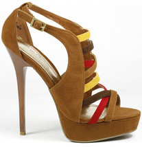 Chestnut Brown Red Faux Suede Strappy Colorblock High Heel Platform Sandal - $9.99