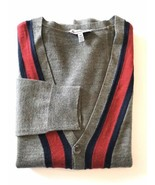 Le Chateau Men V Neck Button Down Cardigan Sweater Grey Red S - $22.26