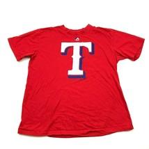 TEXAS Rangers Mens Shirt Majestic Red Short Sleeve Sports Tshirt Adult S... - $17.83
