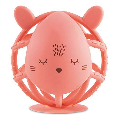 Tiny Twinkle Silicone Teether Toy - Coral Bunny - BPA Free Multi Textured, Sucti