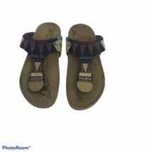 Womens SAM EDELMAN Torquise Beige Beaded Leather Sandals Size 7 - $27.23