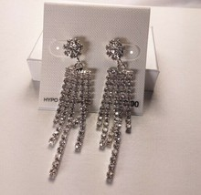 Charter Club Silver Crystal Drop Dangle Hypo Allergenic Earrings - New - $14.85