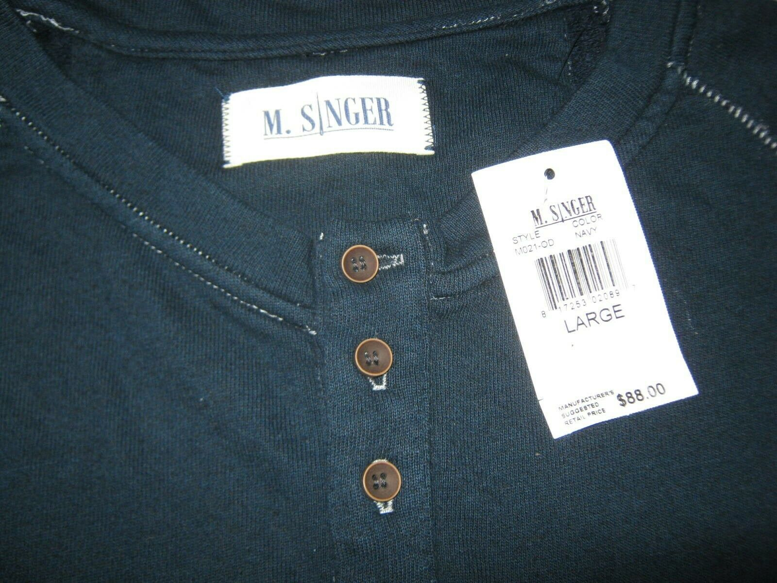 Mens M.Singer Henley Shirt Navy Blue NWT Cotton Poly Viscose Long Sleeve Large