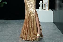 GOLD Sequin Maxi Formal Dress High Waist Side Slit Sequin Dress Wedding Outfits image 7