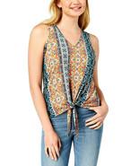 BCX Juniors Green Orange Sleeveless Printed Knit V-Neck Tie Top Size L R... - $13.36