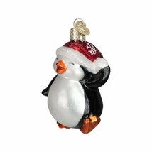 Dancing Penguin Ornament Old World Christmas Santa Hat Glitter Accents New  - $10.88