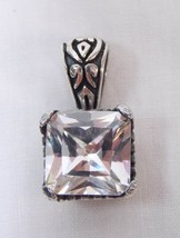 Sterling Silver .925 Filigree Heart 11mm Square Clear Swarovski Crystal ... - $12.86
