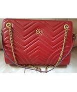 NWT Gucci GG Marmont red leather small shoulder tote bag ; Rtl $2190 - $1,680.54