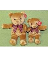 """2 GUND BO BEAR Plush Bean Bag Tan Brown TEDDY 12"""" & 10"""" Red Plaid Bow 10... - $26.73"""