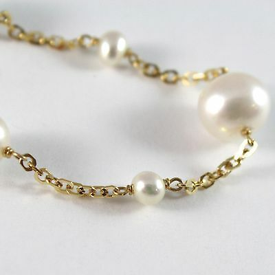 Bracelet Yellow Gold 750 18K White Pearls 5-7-9 mm Chain, Square, 18 CM