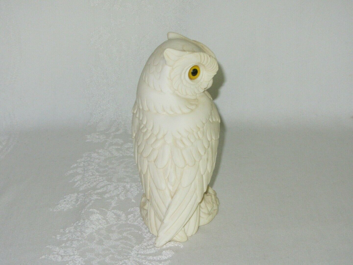 Vintage White Alabaster Horned Owl Bird Figurine Made in Italy A Giannelli 5""