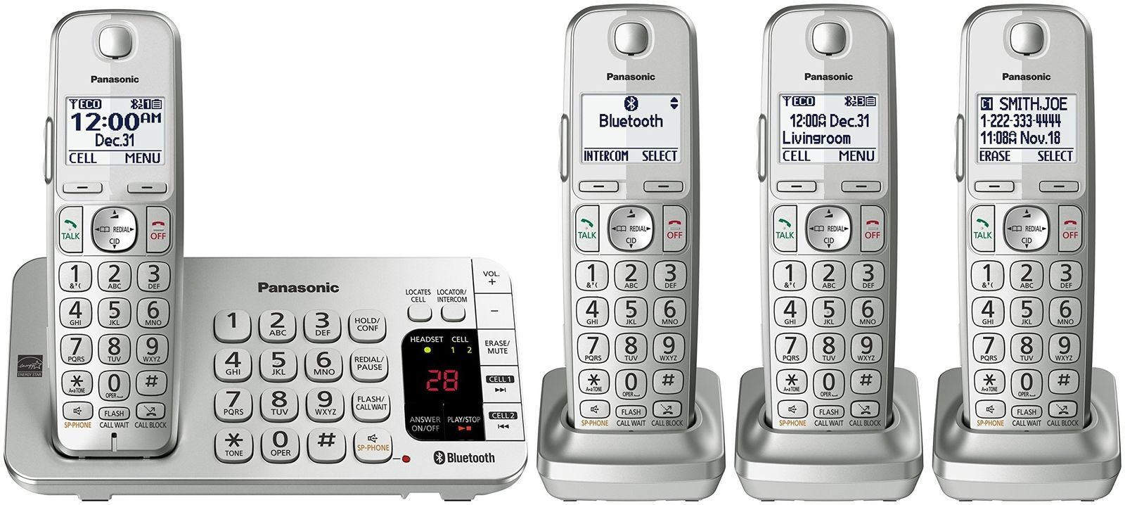 Panasonic KX-TGE474S Link2Cell Bluetooth Cordless Phone with Answering Machin...