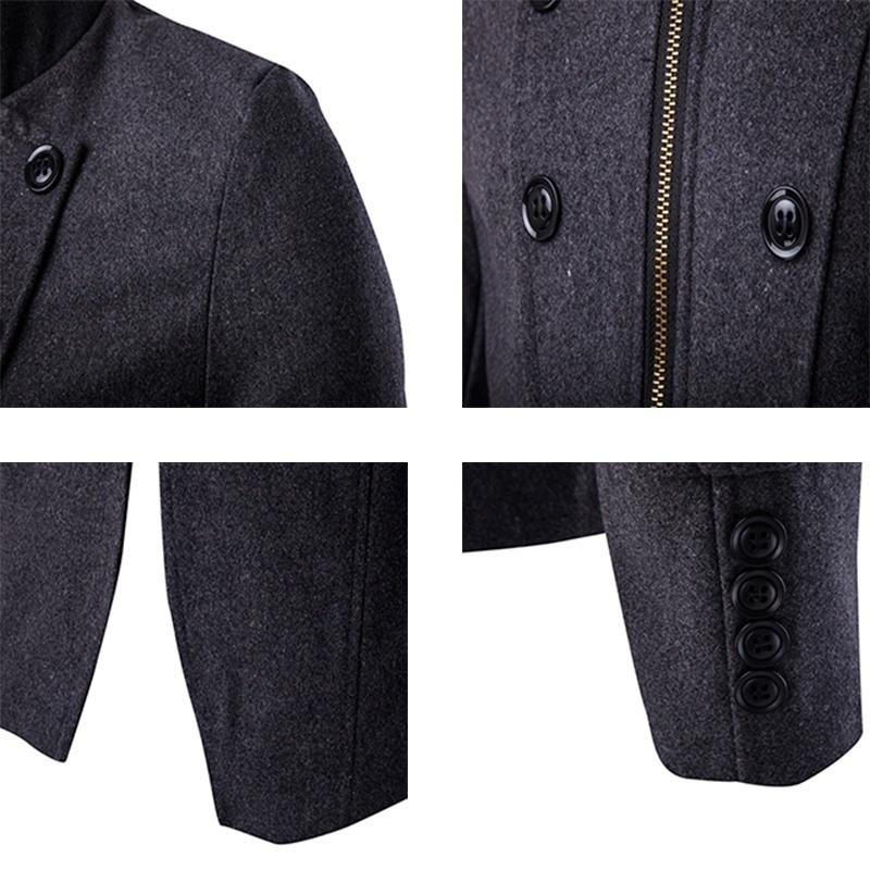 Men's Coat Spring Autumn Brand Men Woolen Coats Middle Long Jackets And Coats Me