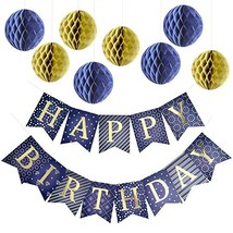 Enfy Happy Birthday Banner Party Decorations with 8 Tissue Paper Pom Pom... - £15.11 GBP
