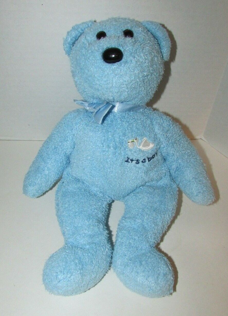 "Primary image for  2002 Ty Beanie Buddies 13"" Blue Bear plush Baby toy It's a Boy teddy flawed bow"