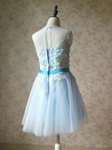 Girl Light Blue Flower Lace Dress High Waist Flower Girl Party Dress Birthday  image 3