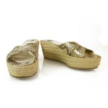 Jimmy Choo Python Leather Gold Decorated Jute Wedge Heel Sandal Platform... - $147.51