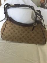 Dooney & Bourke  Brown DB Print Cotton & Leather Hobo Purse Handbag Bag - $27.71