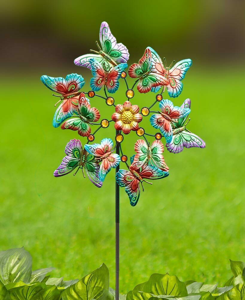 Colorful Metallic Finish BUTTERFLY Themed Wind Spinner Yard Garden Stake Decor - $23.73